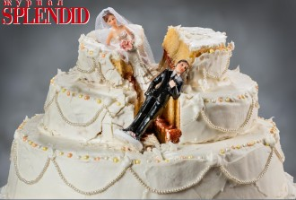 Bride and groom figurines collapsed at ruined wedding cake
